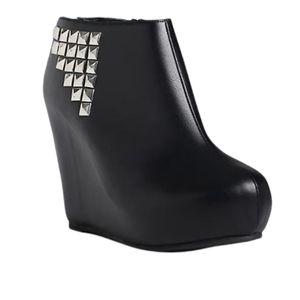 TORRID Covered Stud Wedge Ankle Booties Zip Boots